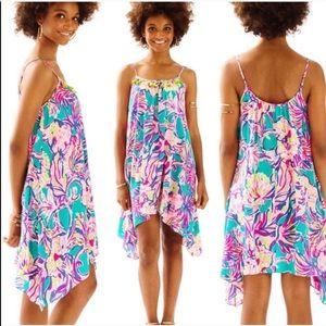 LP Safari Sighted Green Rooney Tassel Silk Dress